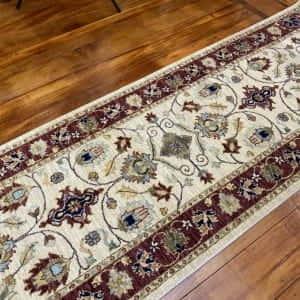 Rug# 14117, Afghan Turkaman weave 19th c Tabriz design, hand spun wool vegetable dyes, size 303x80 cm RRP $1800, Special $750 (2)