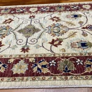 Rug# 14117, Afghan Turkaman weave 19th c Tabriz design, hand spun wool vegetable dyes, size 303x80 cm RRP $1800, Special $750 (3)