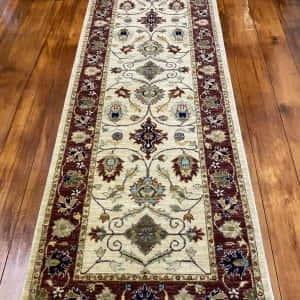 Rug# 14117, Afghan Turkaman weave 19th c Tabriz design, hand spun wool vegetable dyes, size 303x80 cm RRP $1800, Special $750