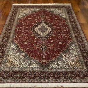 Rug# 23182, superfine Kashmir silk on silk, total 3,326,000 knots, India, size 216x154 cm