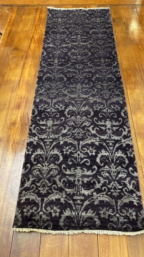 Rug# 23324, Fine Agra design, Tibetan wool pile, 18th c Damask dsn, 8x8 quality, India, size 237x73 cm RRP $1800, Special $750