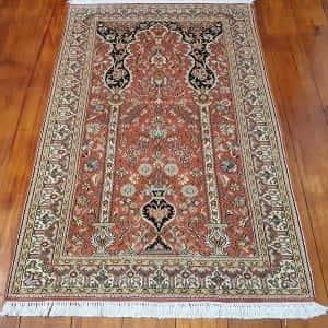 Rug# 23941, very fine Kashmir silk , total 720,000 knots, Mogul prayer design , size 149x91 cm, RRP$3500, on special $1050 (2)