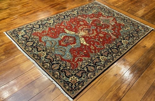 Rug# 5852, vintage Qum wool pile, circa 1945, silk inlay, immaculate, Persia, size 210x140 cm, RRP $8000 , on special $3000 (2)
