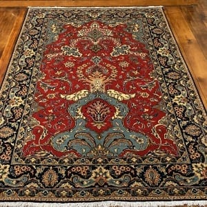 Rug# 5852, vintage Qum wool pile, circa 1945, silk inlay, immaculate, Persia, size 210x140 cm, RRP $8000 , on special $3000 (3)