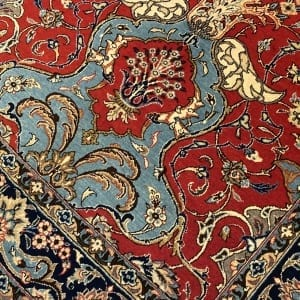 Rug# 5852, vintage Qum wool pile, circa 1945, silk inlay, immaculate, Persia, size 210x140 cm, RRP $8000 , on special $3000 (4)