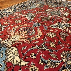 Rug# 5852, vintage Qum wool pile, circa 1945, silk inlay, immaculate, Persia, size 210x140 cm, RRP $8000 , on special $3000 (5)