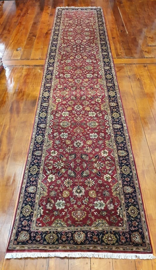 Rug# 23234, superfine Agra, fine NZ wool pile, Mashad design, India, size 496x103 cm, RRP $5500, on special $1990 (2)