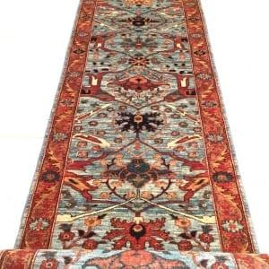 Rug #25970, Afghan Turkaman weave, Antique Garous-Bijar design, Hand spun wool pile with natural vegetable dyes, Mazar-Shar, 598x82 cm, $5500, on special $2450