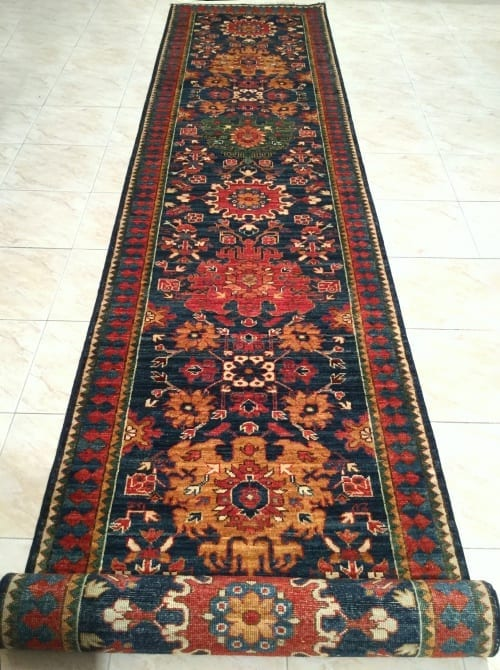 Rug #25972, Afghan Turkaman weave, Antique caucasian design, Hand spun wool pile with natural vegetable dyes, Mazar-Shar, 482x81 cm, $4400, on special $1800