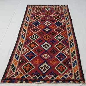 Rug# 11231, old Qashqai Kilim, mid 20th c, Persia, size 290x138 cm, RRp $1500, on special $550 (6)