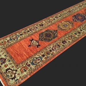 Rug# 26043, Afghan Turkakan weave, 19th c Caucasian inspired, HSW, veg dyes, size 365x78 cm (3)