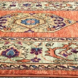 Rug# 26043, Afghan Turkakan weave, 19th c Caucasian inspired, HSW, veg dyes, size 365x78 cm (5)