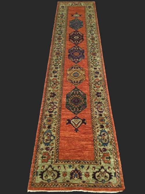 Rug# 26043, Afghan Turkakan weave, 19th c Caucasian inspired, HSW, veg dyes, size 365x78 cm