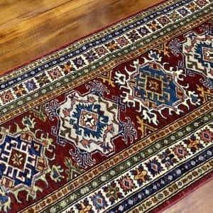 Rug# 24338, Afghan Turkaman weave 19th c Tabriz design, hand spun wool vegetable dyes, 243x80 cm RRP $1800, Special $750 (2)