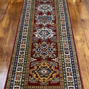 Rug# 24338, Afghan Turkaman weave 19th c Tabriz design, hand spun wool vegetable dyes, 243x80 cm RRP $1800, Special $750