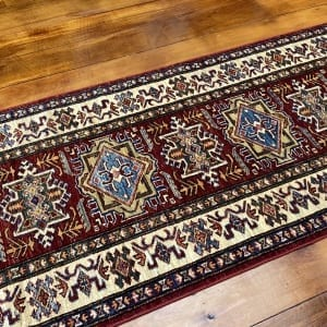 Rug# 24747, Afghan Chechen weave 19th c Kazak design, hand spun wool, vegetable dyes, size 290x81 cm RRP $2400, Special $950 (2)