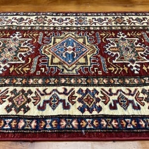 Rug# 24747, Afghan Chechen weave 19th c Kazak design, hand spun wool, vegetable dyes, size 290x81 cm RRP $2400, Special $950 (3)