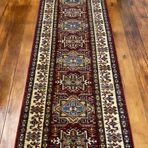 Rug# 24747, Afghan Chechen weave 19th c Kazak design, hand spun wool, vegetable dyes, size 290x81 cm RRP $2400, Special $950