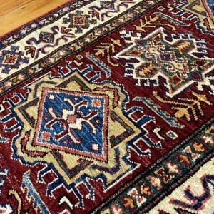 Rug# 24747, Afghan Chechen weave 19th c Kazak design, hand spun wool, vegetable dyes, size 290x81 cm RRP $2400, Special $950 (4)