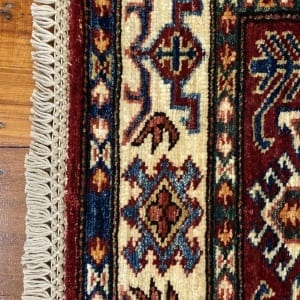 Rug# 24747, Afghan Chechen weave 19th c Kazak design, hand spun wool, vegetable dyes, size 290x81 cm RRP $2400, Special $950 (5)