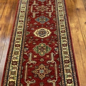 Rug# 24748, Afghan Chechen weave Super-Kazak, HSW, V.D, size 294x84 cm
