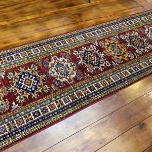 Rug# 24749, Afghan Chechen weave 19th c Kazak design, hand spun wool, vegetable dyes, size 303x82 cm RRP $2400, Special $950 (2)