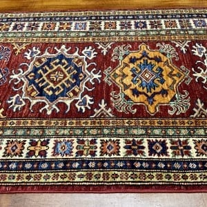 Rug# 24749, Afghan Chechen weave 19th c Kazak design, hand spun wool, vegetable dyes, size 303x82 cm RRP $2400, Special $950 (3)