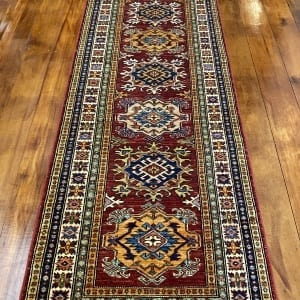 Rug# 24749, Afghan Chechen weave 19th c Kazak design, hand spun wool, vegetable dyes, size 303x82 cm RRP $2400, Special $950