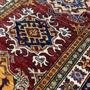 Rug# 24749, Afghan Chechen weave 19th c Kazak design, hand spun wool, vegetable dyes, size 303x82 cm RRP $2400, Special $950 (4)