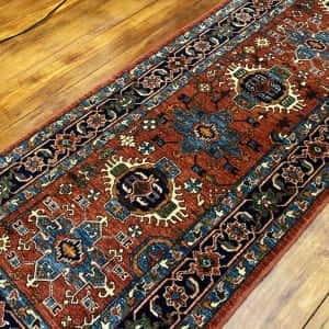 Rug# 24955, Afghan Turkaman weave Heriz design, HSW, V.D, size 296x84 cm RRP $2500, Special $1000 (2)