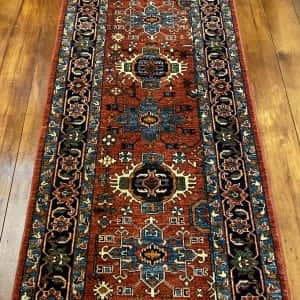 Rug# 24955, Afghan Turkaman weave Heriz design, HSW, V.D, size 296x84 cm RRP $2500, Special $1000
