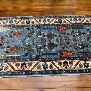 Rug# 24958, Afghan Turkaman weave 17th c Tree of life design, hsw, vegetable dyes, size 286x83 cm RRP $2200, Special $900 (2)