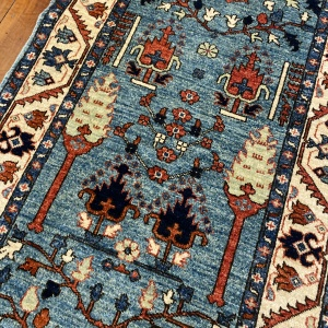 Rug# 24958, Afghan Turkaman weave 17th c Tree of life design, hsw, vegetable dyes, size 286x83 cm RRP $2200, Special $900 (4)
