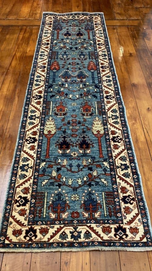 Rug# 24958, Afghan Turkaman weave 17th c Tree of life design, hsw, vegetable dyes, size 286x83 cm RRP $2200, Special $900