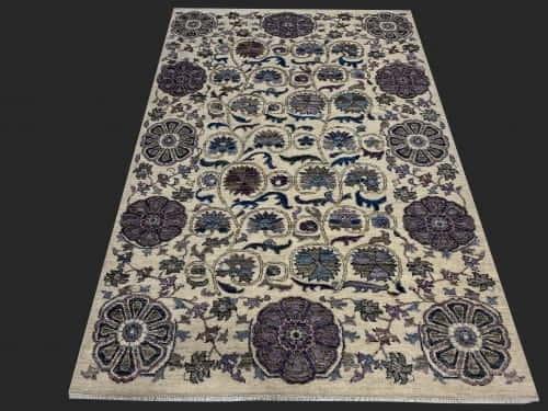 Rug# 26075, Peshawar Chobrang, inspired by 19th c Suzani design , HSW pile, Pakistan, size 187x124 cm