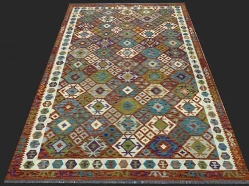 Rug# 26096, Afghan Maimaneh Kilim, Qazni wool & vegetable dyes, Size 294x208 cm (2)