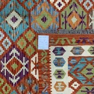 Rug# 26096, Afghan Maimaneh Kilim, Qazni wool & vegetable dyes, Size 294x208 cm