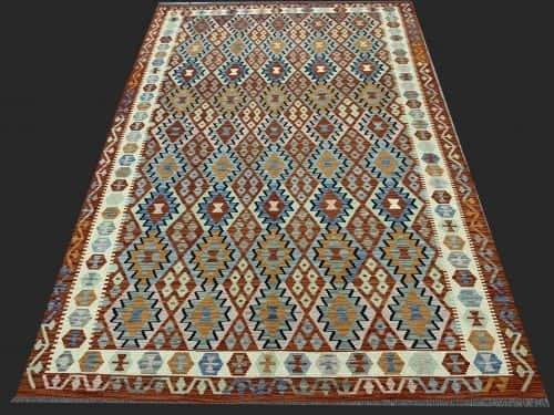 Rug# 26098, Afghan Maimaneh Kilim, Qazni wool & vegetable dyes, Size 299x203 cm