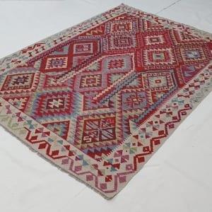 Rug# 25576, Superfine Afghan flatweave Kilim, modern design, veg dyes, size 237x173 cm, RRP $1200, on special $480 (2)