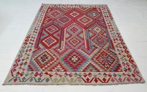 Rug# 25576, Superfine Afghan flatweave Kilim, modern design, veg dyes, size 237x173 cm, RRP $1200, on special $480