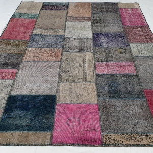 Lot# 23, Modern Patchwork carpet made of overdyed, antique rug fragments, Persia, size 306x205 cm (2)