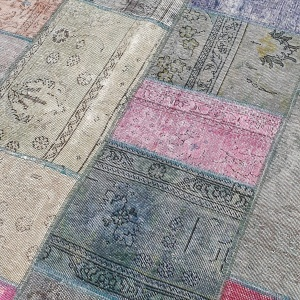 Lot# 23, Modern Patchwork carpet made of overdyed, antique rug fragments, Persia, size 306x205 cm (3)
