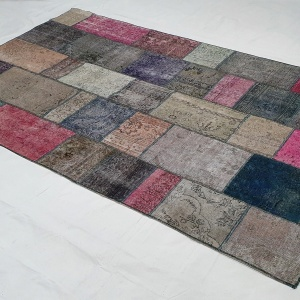Lot# 23, Modern Patchwork carpet made of overdyed, antique rug fragments, Persia, size 306x205 cm