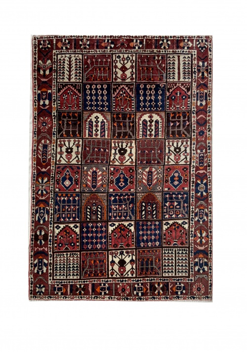 Lot# 29, Chaleh-Shotor Bakhtiar Kheshti or compartmentgarden design, rare, circa 1950, Persia, size 300x200 cm