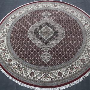 Rug# 31060, Superfine Amritsar in Tabriz mahi dsn, NZ wool pile, silk inly, India, size 247x247 cm