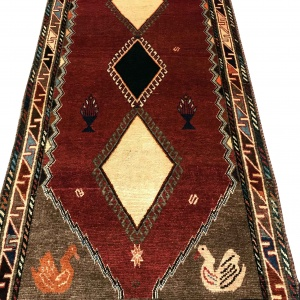 Rug# 6221, Persian Gabbeh, 216x130 cm