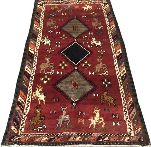 Rug# 6945, Vintage Gabbeh, nomadic Qashaqai tribe, circa 1950, size 210x116 cm