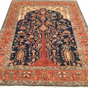 Rug# 26313, Afghan Turkakan weave, 19th c Caucasian Tree Of Life design, Veg dyes, Size 234x186 cm (2)