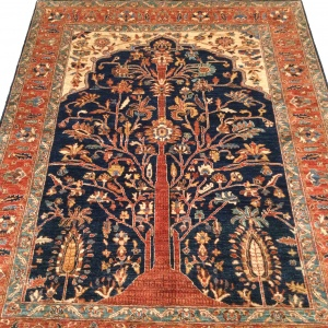 Rug# 26313, Afghan Turkakan weave, 19th c Caucasian Tree Of Life design, Veg dyes, Size 234x186 cm (3)