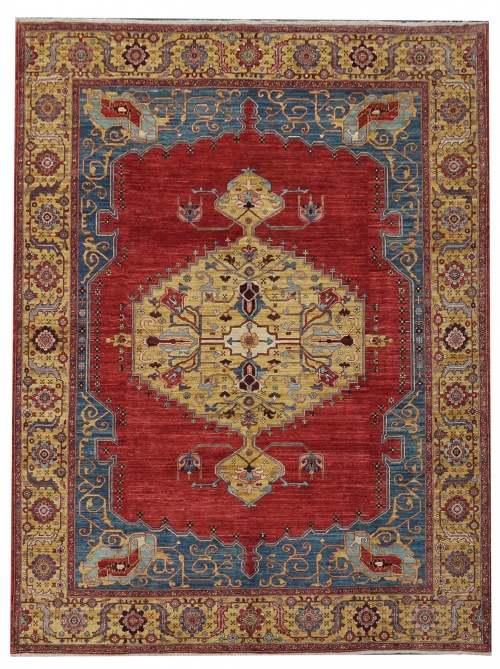 Rug# 26323, AfghanTurkaman weave, 19th c Bakhshaiesh Heriz inspired, Veg dyes, Size 364x272 cm, RRP $12000 (2)